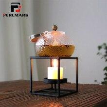 Japanese-style Handmade Brief Iron Art Warm Tea Shelf White Candle Stand Alcohol Lights Boiled Flower Tea Home Heating The Base