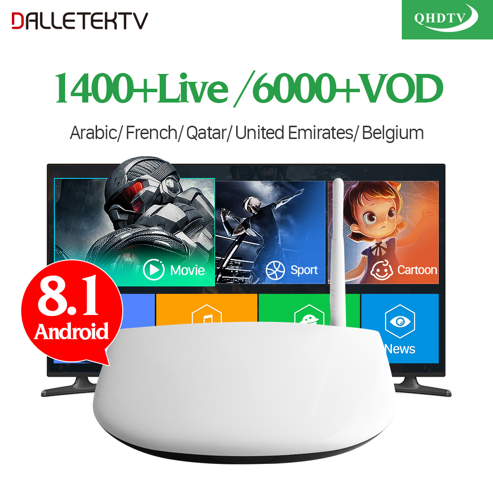 IPTV Arabic French TV Box Smart Android 8 1 4K 8GB HD WiFi Dalletektv 1 Year