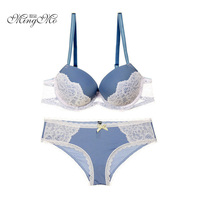 Newest Spell Color Sexy Women Bra Sets Lace Embroidery Bra Push Up Underwear Bras Brief Sets Gray/Beige/Blue/Purple