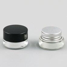 عينة صغيرة من الزجاج 12 × 3 جرام لأغراض السفر وحاويات برطمان لوضع المكياج مع أغطية سوداء فضية بمقياس كريم زجاجي صغير 1/10 أونصة