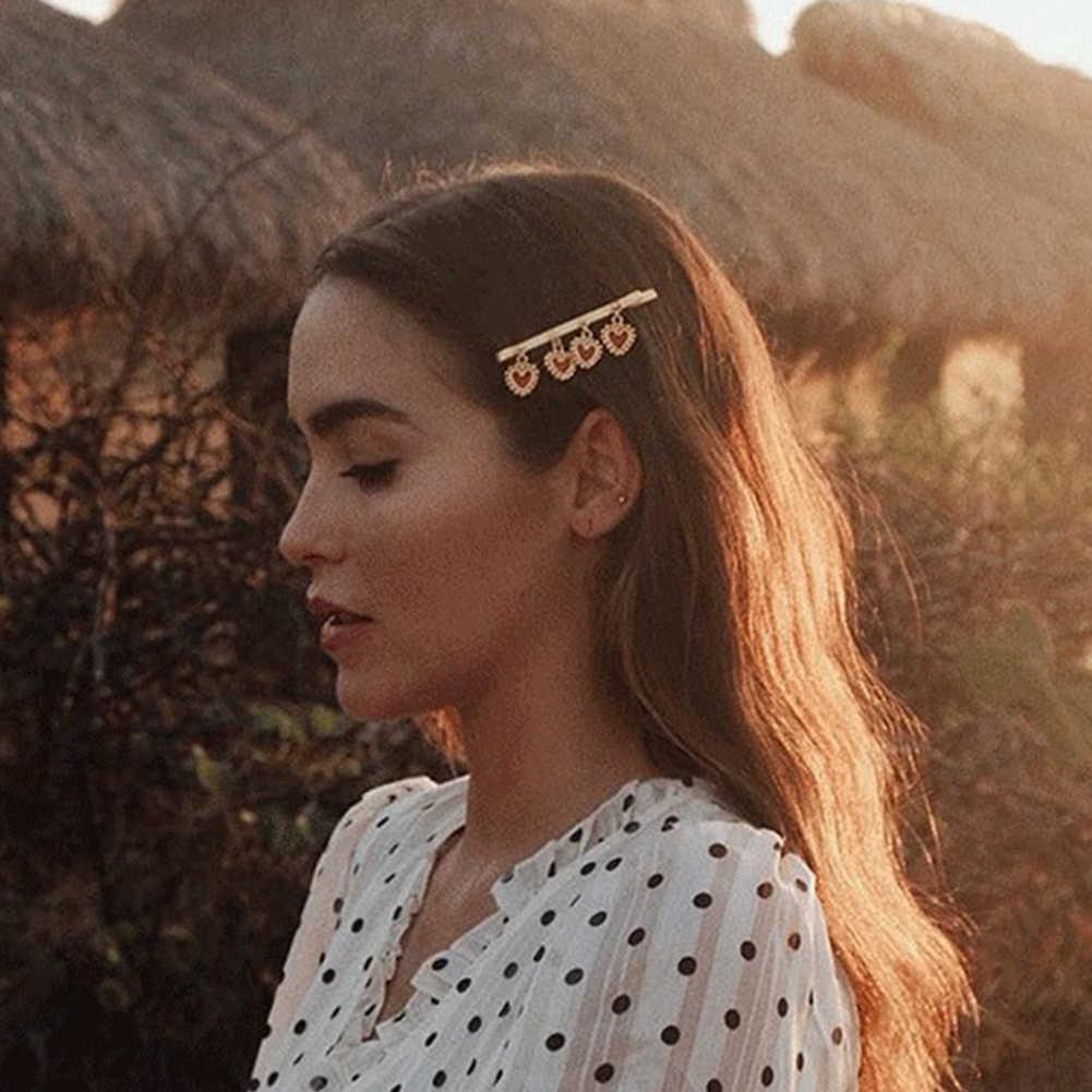 Manis Wanita Beberapa Cinta Hati Enamel Bobby Pin Pernikahan Bride Rambut Klip Jepit Rambut