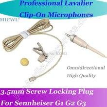 MICWL Beige OmniDirectivity Wireless Lavalier Lapel Round Microphone for Sennheiser G1 G2 G3 Mic System micwl beige sp12 wireless stage song microphone for sennheiser xs ew100 300 500 g2 g3 g4 3 5mm lock screw mic system