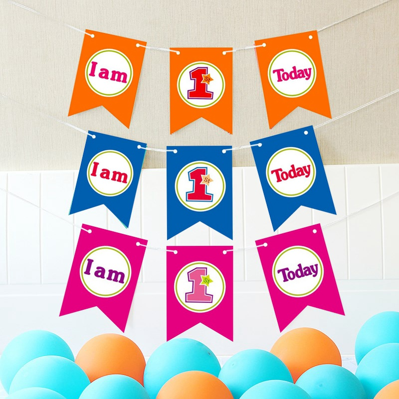Flag Banners Children Party Supplies Flag Banner Baby Birthday Shower Decoration High Chair Hanging Banner
