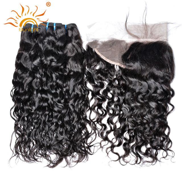 Sunlight 3 Bundles Brazilian Water Wave Human Hair With Closure 13x4 Preplucked Lace Frontal With Baby Hair Non Remy Hair Weave