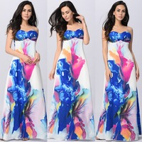 2017 Summer Beach Party Sleeveless Printed Trousers Sling Loudspeaker Dresses Maxi Dresses