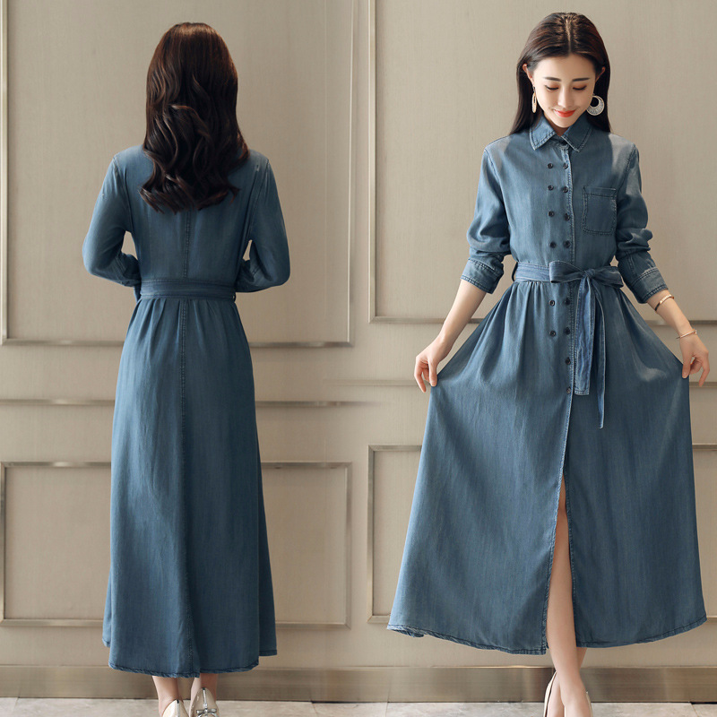2018 printemps vêtements nouveau modèle Denim robe Station à la fois boucle longue fonds Cowboy robes à manches longues auto-culture - 5