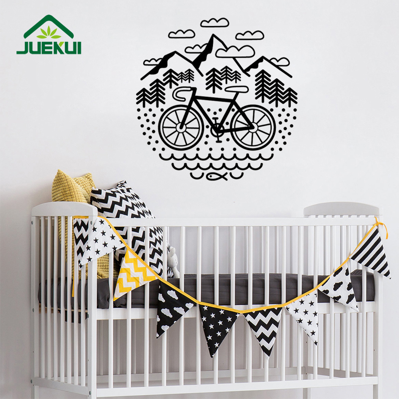 bicycle and mountains wall stickers for nursery bedroom