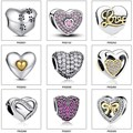 100% Authentic 925 Sterling Silver Heart Shape Charm Beads Fit Pandora Bracelet Pendants DIY Original Jewelry PAS001