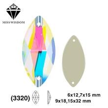 Nuevo producto de alta calidad de vidrio plano doble agujero cosido rhinestones ojo de caballo AB color diy accesorios