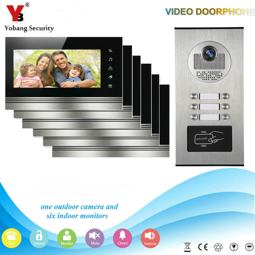 YobangSecurity 6 Apartment Wired Video Door Phone Intercom 7Inch Monitor IR Camera RFID Video Doorbell Kit Supprt RFID Card my apartment