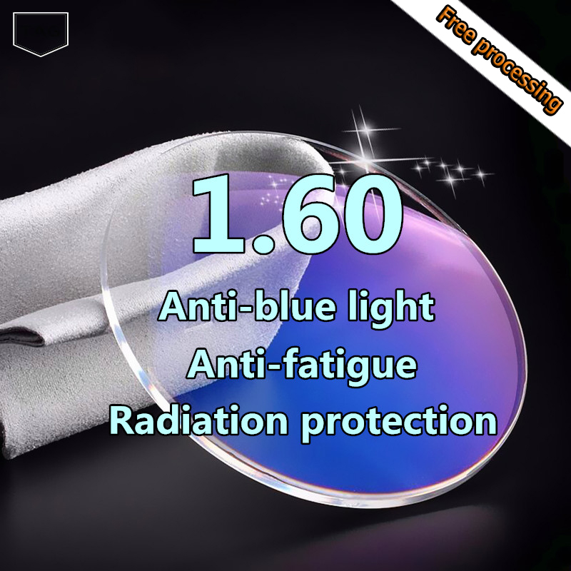 1.60 haute qualité anti-bleu prescription lentille ordinateur myope lentille rayonnement anti-fatigue
