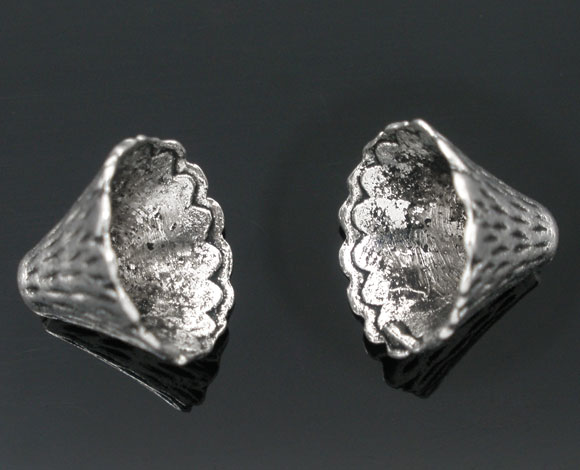 Zinc Metal Alloy Beads Caps Cone Silver Color(Fits 12mm-20mm Beads)Stripe Pattern 12mm(4/8