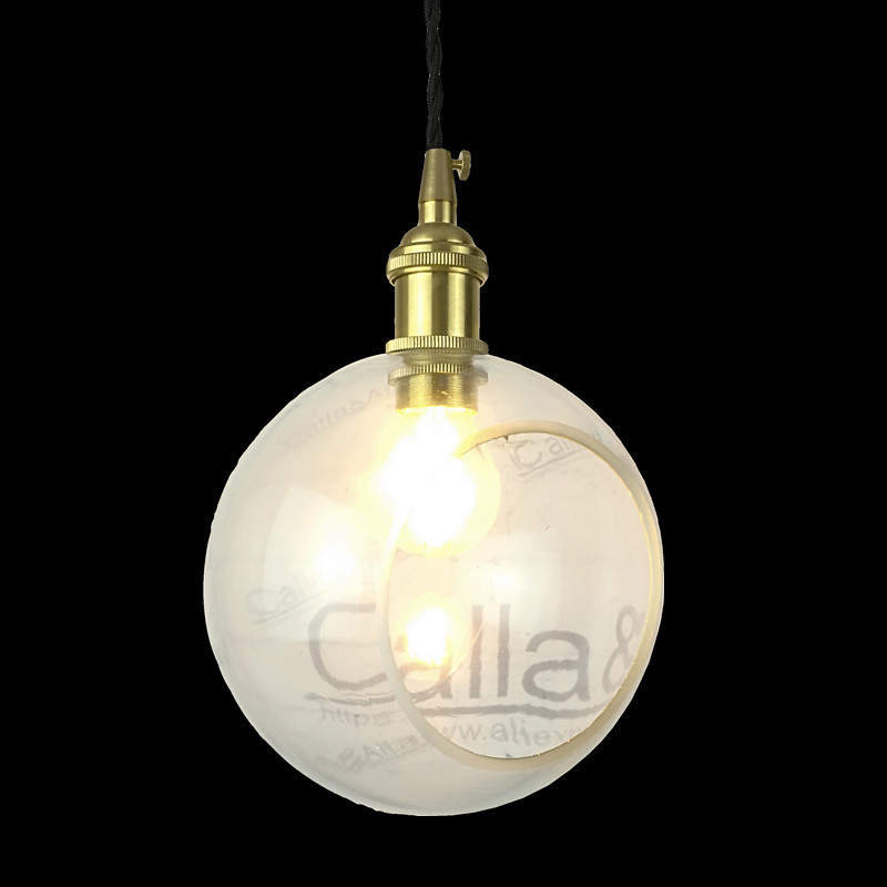 E27 brass material pendant light clear glass beside hole vintage ...