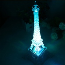 Wedding Decoration Home Accessories New 2016 Fashion Eiffel Tower Night Light Colorful LED Lamp In Bedroom Party Birthday Gift