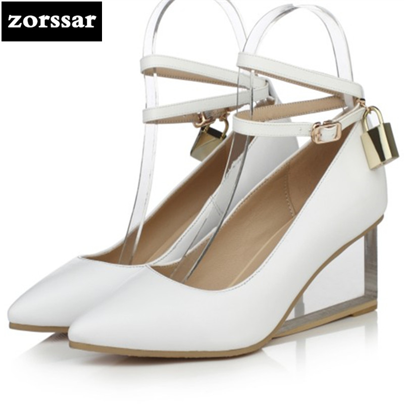 {Zorssar} 2018 spring New fashion Genuine Leather womens dress shoes Wedges pointed toe High heels ladies Ankle Strap shoes new spring autumn women shoes pointed toe high quality brand fashion ol dress womens flats ladies shoes black blue pink gray
