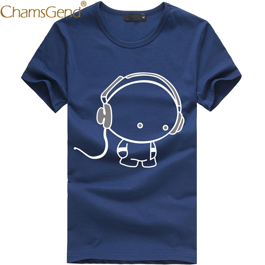 Chamsgend Drop Shipping Men's Simple Style Cartoon Print Short Sleeve Round Neck Cotton T-Shirt Tops 80206