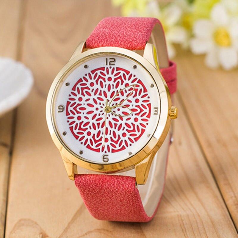 2017 la más nueva flor impresa relojes moda mujer reloj de pulsera de cuarzo analógico señora dress leather 9 estilos