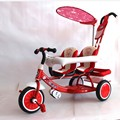 Free Shipping Three wheel with two seater twin dolls Kang pedal three wheeled cart with awning four in one function