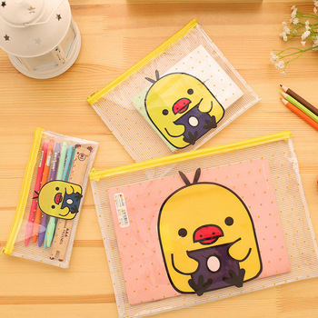 Cartoon Yellow Duck PVC File Bag Pencil Case File Folder Documents Filling Bag Office School Suppllies Stationery Bag