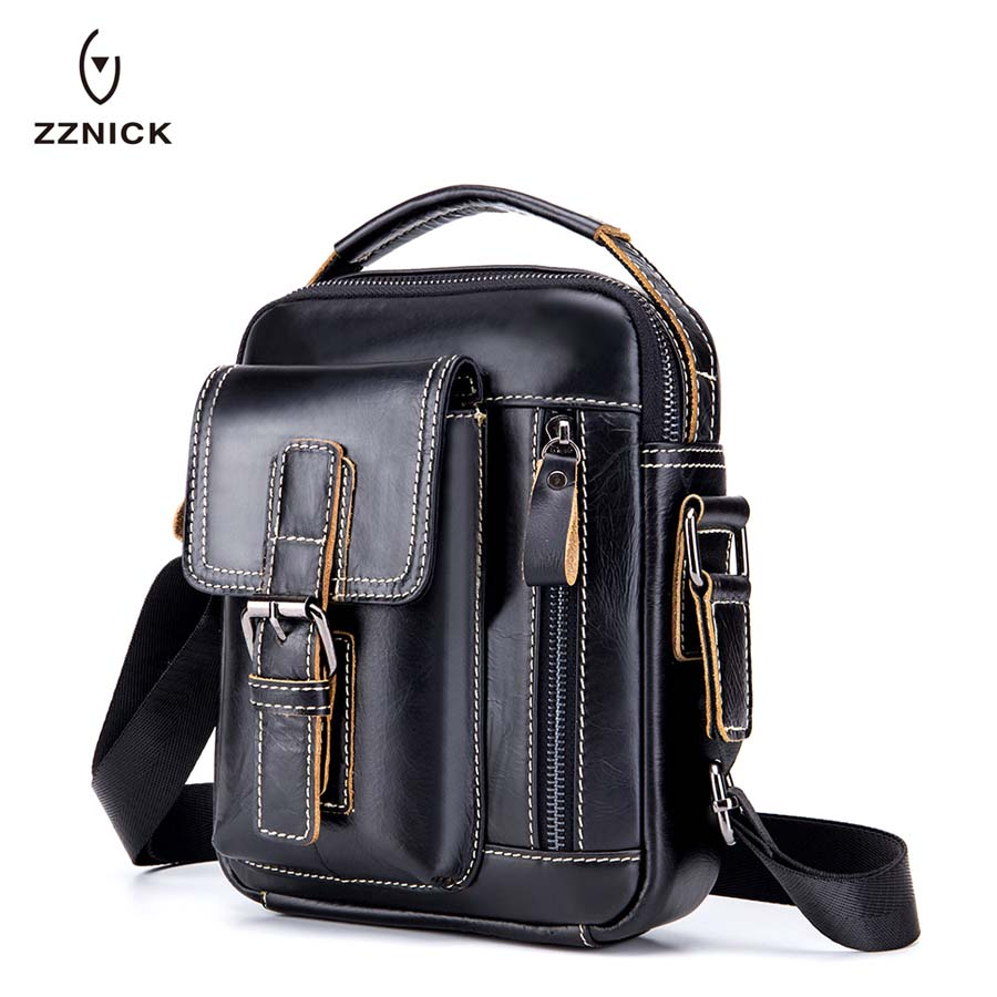 ZZNICK HOT!! 2018 Genuine Leather Bags Men High Quality Messenger Bags Small Travel Crossbody Shoulder Bag For Men 91307*