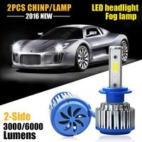 2pcs Car Lights Cars H7 Bulb 60w 6000k LED White Fog Bulb Car Head Lamp Light