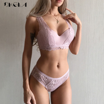 2019 New Thick Gather Cotton Deep V Embroidery Lace Push-Up Bra Set