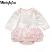JMS Kasenbely 2017 Spring Cute Baby Girl Jumpsuit Outfit Long Sleeve Polka Dot Pink Clothes Baby