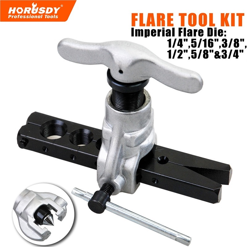 HORUSDY Flaring Flare Tool Kit Refrigeration Copper Tube Flaring Eccentric Conecopper pipe expanding tool flaring tool kit pvc pipe cutter