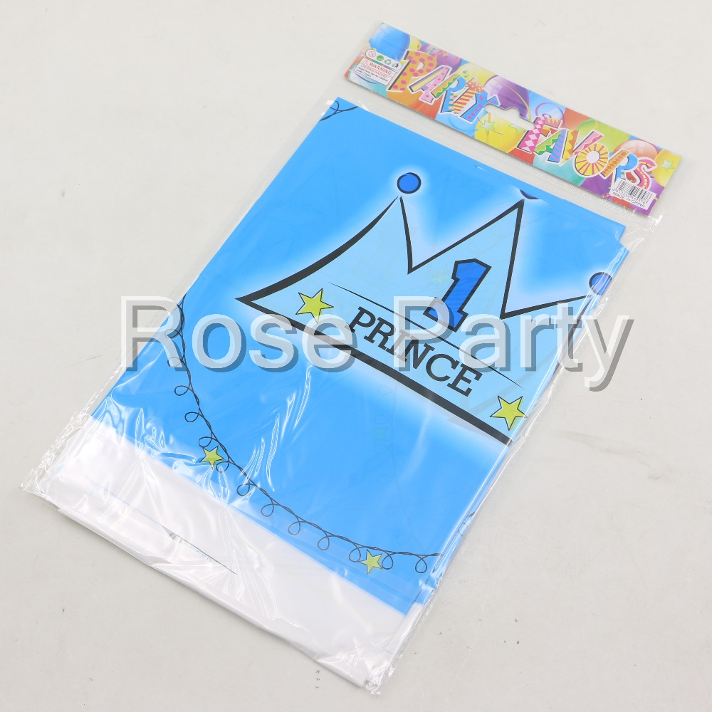 Birthday table decorations boy - 1pc Pink Blue Crown Princess Plastic Table Cover Cloth For Kids Birthday Party Decoration Girl Boy Favors Baby Shower Decoration