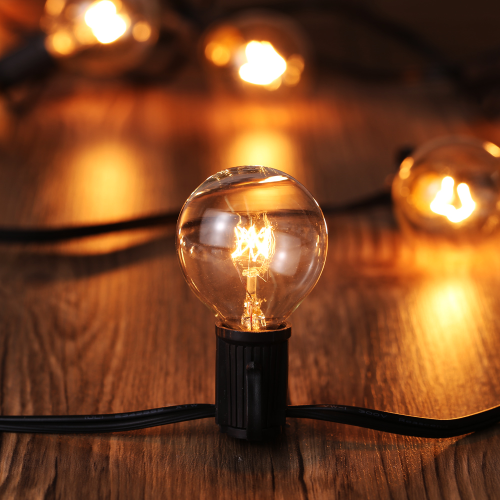 7.62M String Lights 25pcs G40 Globe Bulbs With 3 Spares