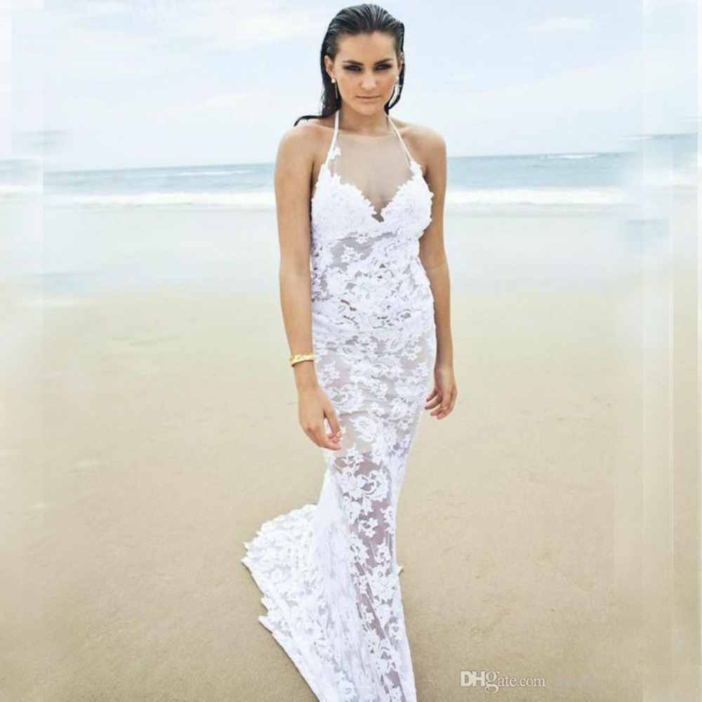 Halter Top Beach Sexy Backless Lace Wedding Dress Small ...Halter Top Backless Wedding Dresses
