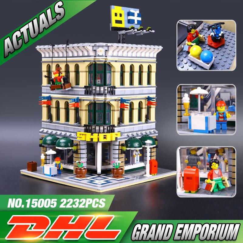 ФОТО 2017 LEPIN 15005 NEW 2182pcs City Grand Emporium Model Building Blocks Kits Brick Toy Compatible  10211