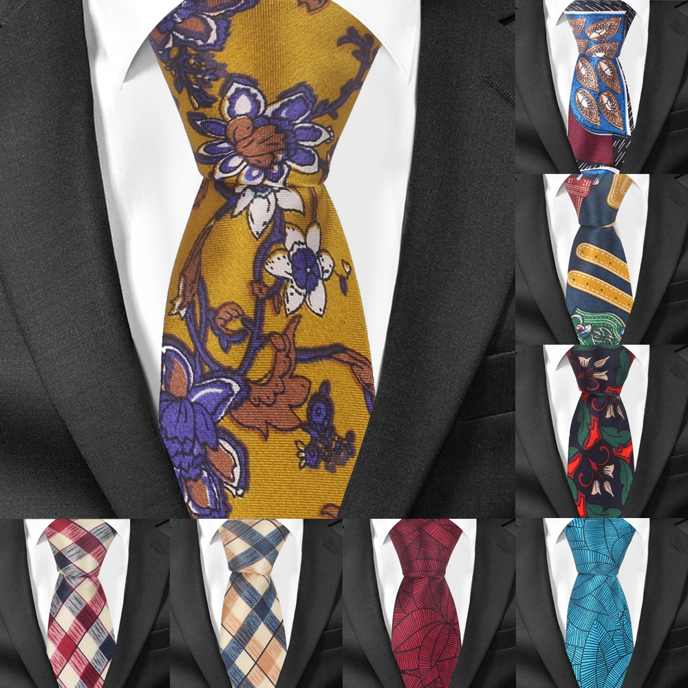New Floral Print Tie For Men Women Soft Polyester Neck Tie For Wedding Business Suits Skinny Ties Fashion Slim Plaid Necktie