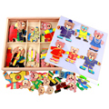 Wooden Magnetic Bear Dress Changing Wood Cartoon Jigsaw Puzzle Children Educational Toy Creative juguetes educativos
