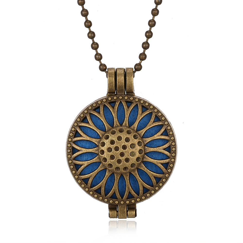 Aromatherapy Necklace Open Locket Bronze Essential Oil Diffuser Necklace Perfume Pendant Necklace with 5pcs Pads Aroma Necklaces in Pendant Necklaces from Jewelry Accessories