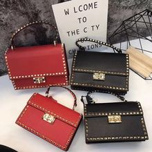 free shipping the new 2019 fashion worn one shoulder portable baotou layer cowhide rivet package