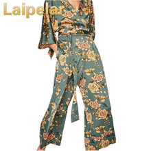Laipelar Summer Vintage Ethnic Flower Printed Kimono Jumpsuit Women 2018 New Fashion Conjoined Femme Playsuits