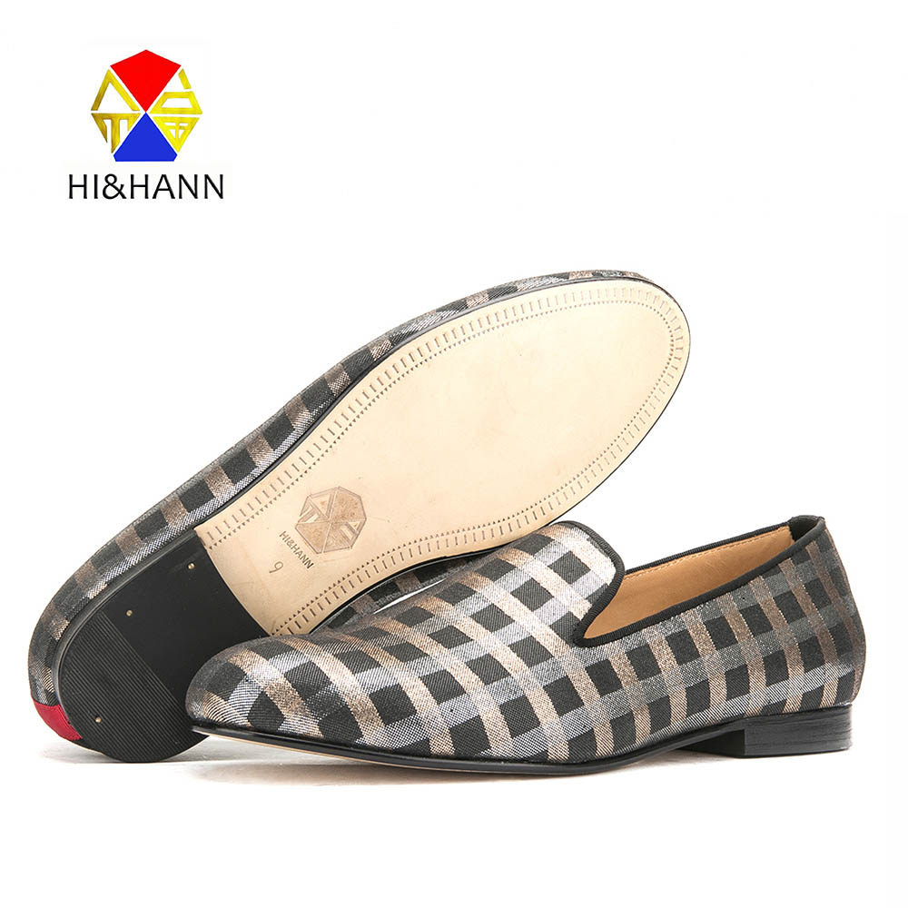 HI&HANN luxurious Handmade men loafers with Genuine Leather insole and bottom Party and Banquet men dress shoes males flats