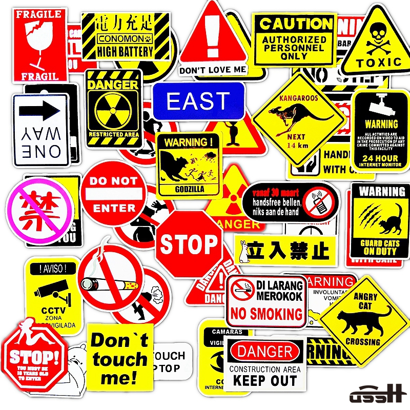 50 Pcs Prohibition Sign Cool Waterproof Sticker For Luggage Skateboard Phone Laptop Moto Trunk Guitar Car