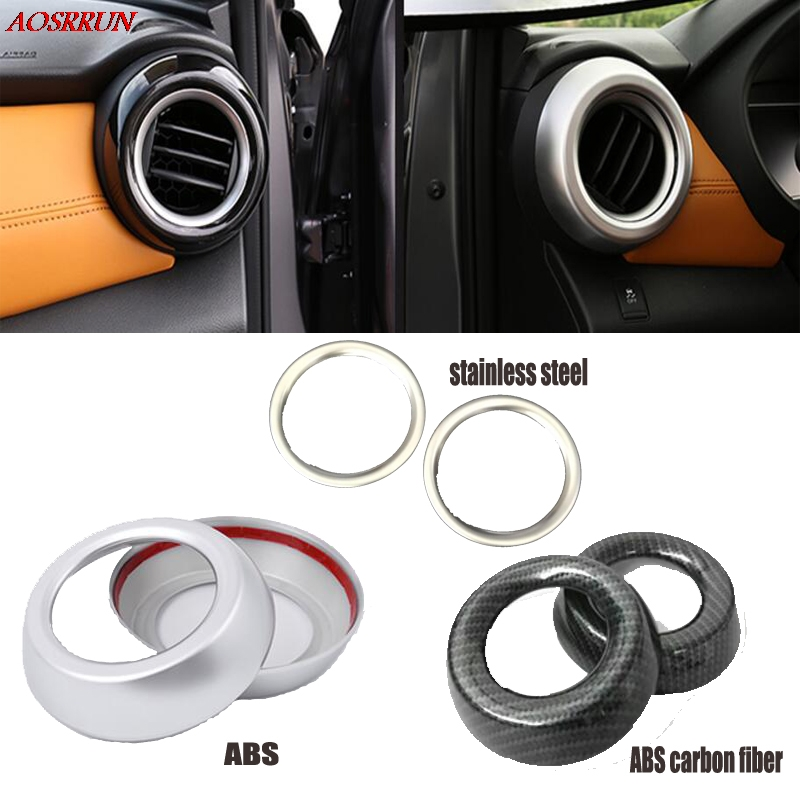 fit For Nissan Kicks 2016 2017 ABS carbon fiber Chrome Air Vent Outlet Trim Molding Car Accessories car-Styling 2PCS automobiles epr car styling for nissan skyline r33 gtr type 2 carbon fiber hood bonnet lip