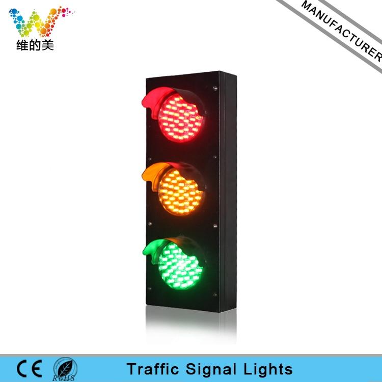 Mini Stainless Steel 100mm AC 85-265V Red Yellow Green Kids Traffic Signal Light