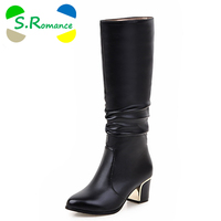 2016 Plus Size 34 43 Women Boots Square Heels Pointed Toe Martin Boots Woman Shoes Female
