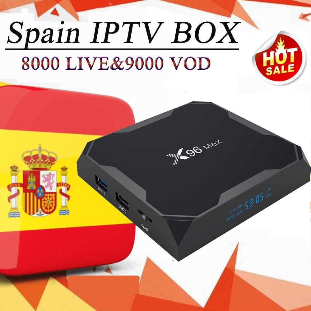 x96 max spain europe iptv 4k tv box android 8 1 spanish caja france sweden nordic