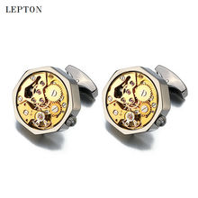 Hot Sale Functional Watch Movement Cufflinks Stainless Steel Steampunk Gear Watch Mechanism Cuff links for Mens With Gift Box