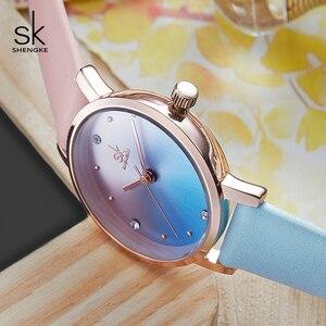 Image 4 - Shengke Creative Color Leather Watches Women Ladies Quartz Watch Relogio Feminino 2019 SK Women Wrist Watch Montre Femme #K8029