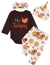 Oklady 4Pcs Thanksgiving Outfit Newborn Baby Boy Girl Long Sleeve Romper Tops+ Pants + Hat + Headband Clothes Set
