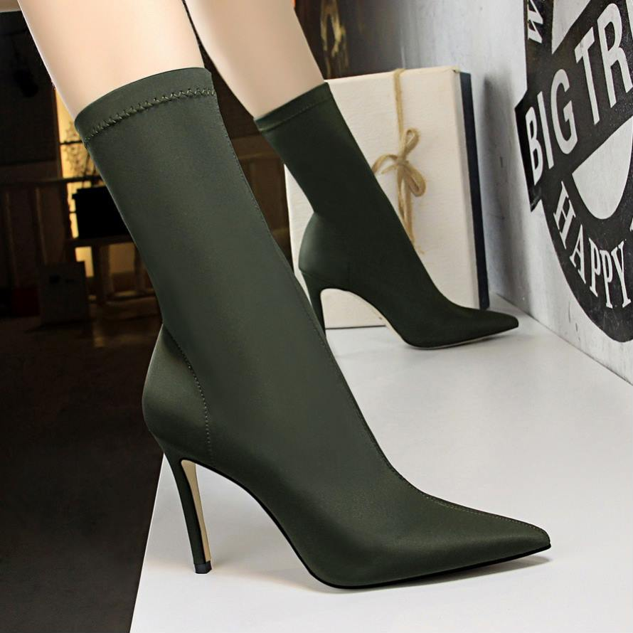 EOEODOIT Ultra High Stiletto Heels Boots Women Autumn Sexy Pointy Toe Stocking Sock Shoes Pumps Boots Mid Calf Short Booties купить в Москве 2019
