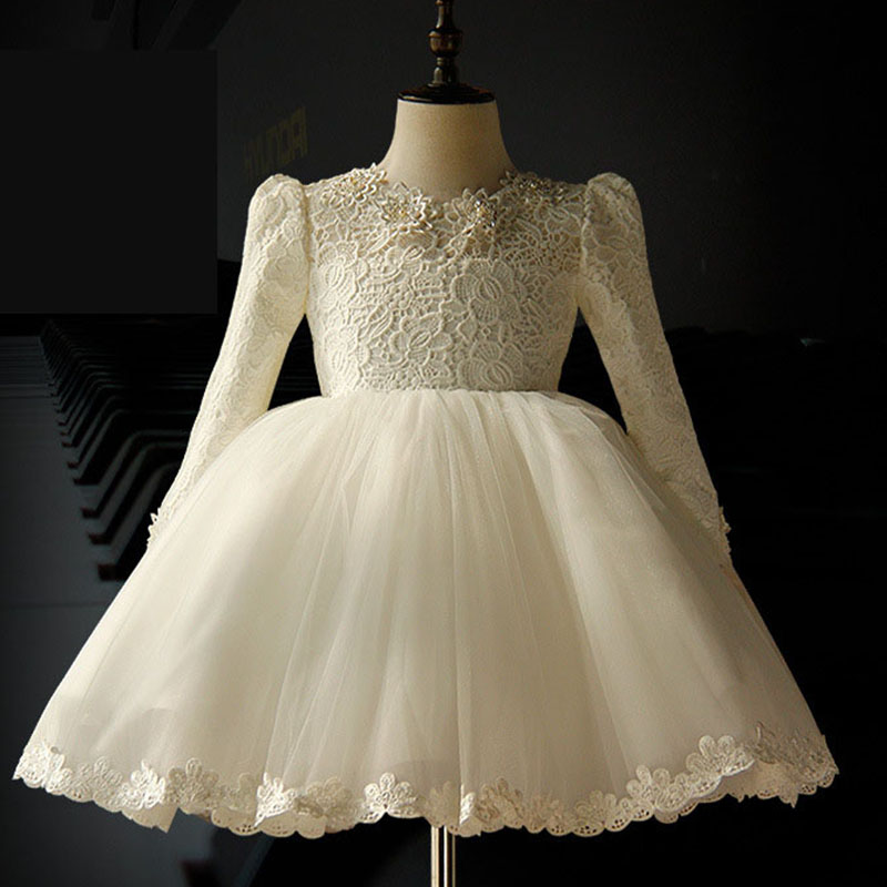 2017 new evening party wedding dress girl gown lace mesh patchwork white flower girl dresses for weddings spring autumn winter