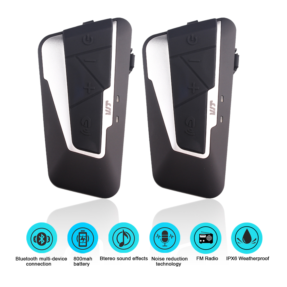2 pz Fodsports T9S Moto Casco Bluetooth Headset Moto Intercom 1200 m Impermeabile IPX6 Con 800 mah Batteria Radio FM