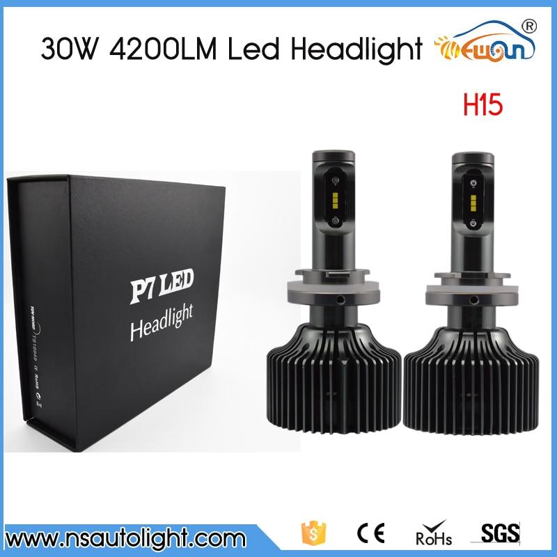 ФОТО All In One  P7 1 set H15 60W 8400lm LED Headlight Kits 12V/24V DC Hi/Lo beam Led Headlight Kit